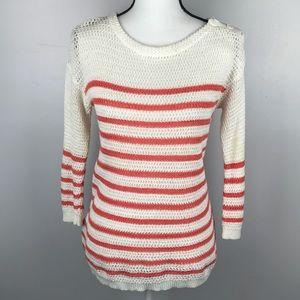 Ann Taylor LOFT Coral White Striped Linen Sweater